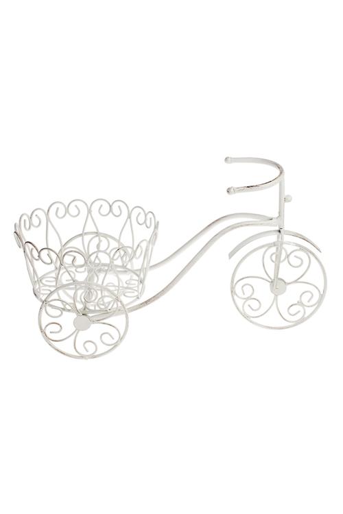 Кашпо садовое Ажурный велосипедКашпо для сада и дачи<br>44*20*25см, металл, белое<br>