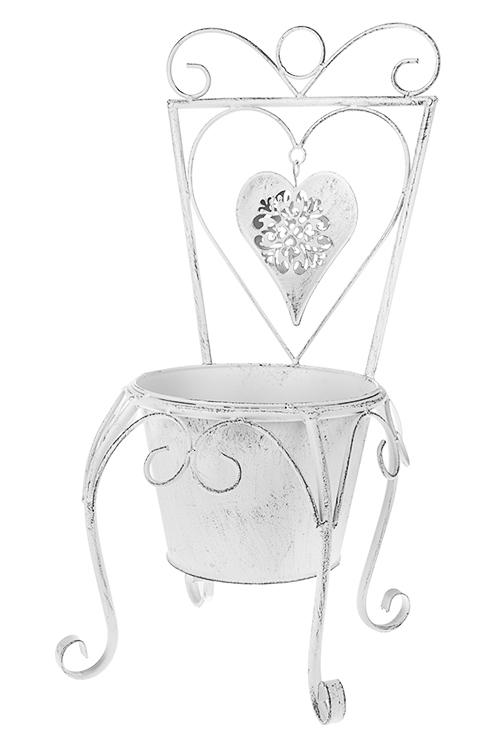 Кашпо садовое Стульчик с сердцемКашпо для сада и дачи<br>23*25*46см, металл, белое<br>