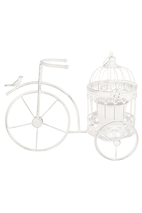 Кашпо садовое Велосипед с клеткойКашпо для сада и дачи<br>40*15*27см, металл, белое<br>