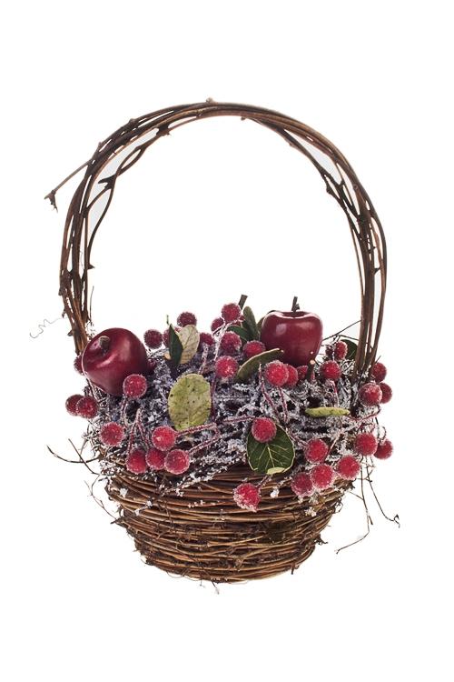 Композиция декоративная Корзинка с ягодкамиПодарки<br>21*25см, текстиль<br>