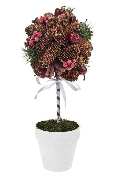 Композиция декоративная Топиарий - Заснеженные шишки и ягодкиРождественские украшения<br>Выс=40см, пенопласт, натур. матер.<br>