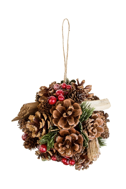 Шар новогодний Ягодная сказкаПодарки на Новый год 2018<br>Д=12см, пенопласт, натур. матер., подвесное<br>