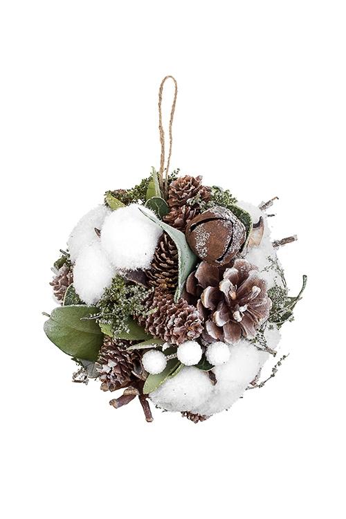 Шар новогодний Шишки и бубенцыПодарки на Новый год 2018<br>Д=12см, пенопласт, натур. матер., подвесное<br>