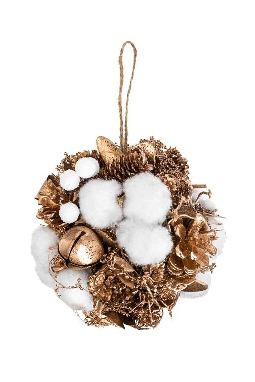 Шар новогодний Золотые шишкиЕлочные шары<br>Д=12см, пенопласт, натур. матер., подвесное<br>