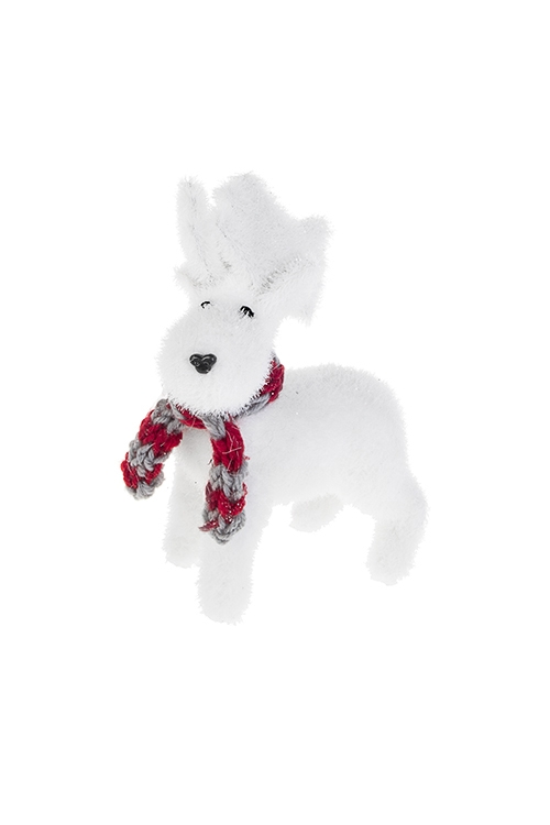 Украшение для интерьера Лось с шарфомНовогодние сувениры<br>15*7*18см натур. матер. белое (2 вида)<br>