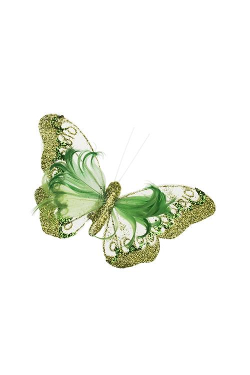 Украшение для интерьера Прекрасная бабочкаСувениры и упаковка<br>12*13см, перо, текстиль, зеленое, на прищепке<br>
