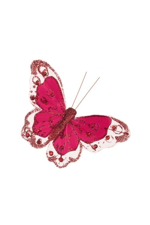 Украшение для интерьера БабочкаПодарки на 8 марта<br>10.5*8см, перо, текстиль, красное, на прищепке<br>