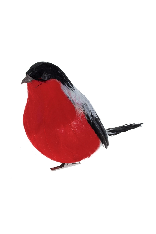 Украшение для интерьера СнегирьНовогодние сувениры<br>Выс=9см, пенопласт, перо, черно-красное, на прищепке<br>