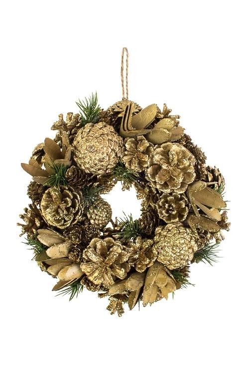Венок новогодний Золотые шишкиПодарки на Новый год 2018<br>Д=25см, пенопласт, натур. матер., подвесное<br>