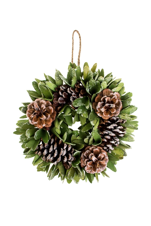 Венок новогодний Лесной шармПодарки на Новый год 2018<br>Д=27см, пенопласт, натур. матер., подвесное<br>