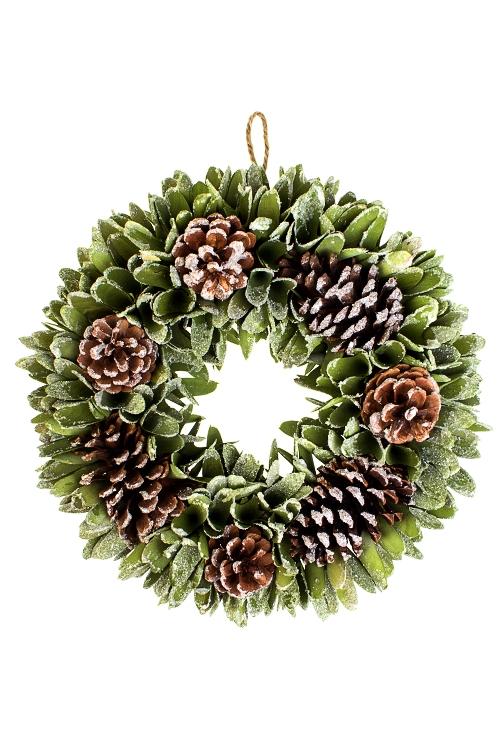 Венок новогодний Лесной шармНовогодние ветки и венки<br>Д=35см, пенопласт, натур. матер., подвесное<br>