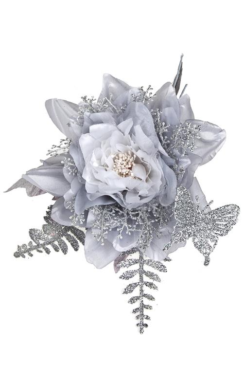 Цветок декоративный Прекрасный цветочек с бабочкойИнтерьер<br>Выс=24см, Д=14см, текстиль, пластм., серебр.<br>