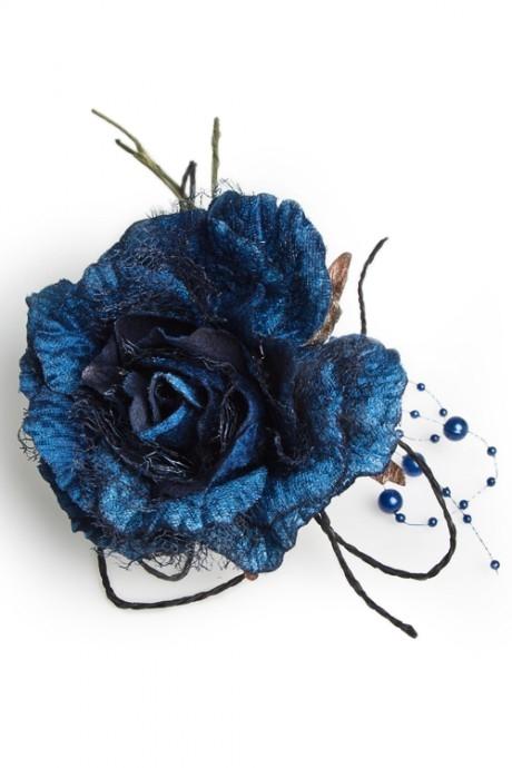 Цветок декор. Нежная розаИнтерьер<br>Выс=22см, Д=12см, текстиль, синий<br>
