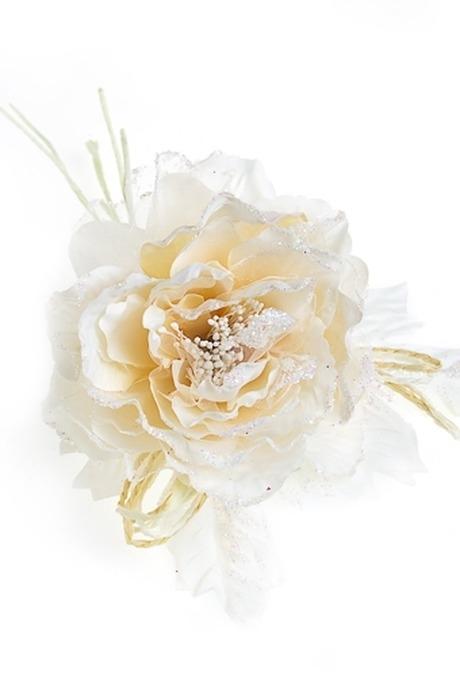 Цветок декор. Легкий оттенокДекоративные цветы<br>Выс=20см Д=12см текстиль беж. со жгутиками<br>