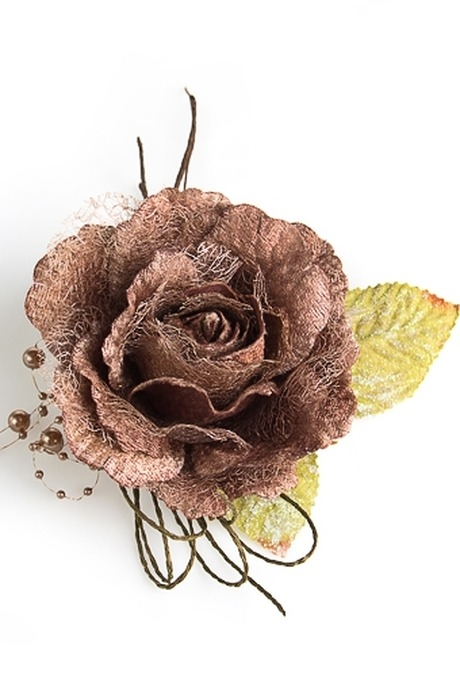 Цветок декор. Нежная розаДекоративные цветы<br>Выс=22см Д=12см текстиль крем.-шоколадный со жгутиками<br>