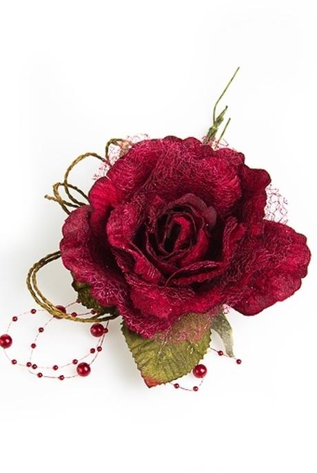 Цветок декор. Нежная розаДекоративные цветы<br>Выс=22см Д=12см текстиль борд. со жгутиками<br>