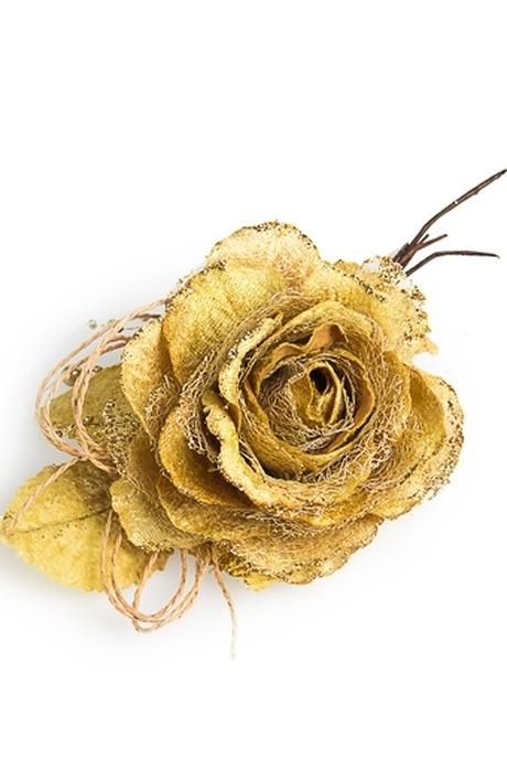 Цветок декор. Нежная розаДекоративные цветы<br>Выс=22см Д=12см текстиль золот. со жгутиками<br>