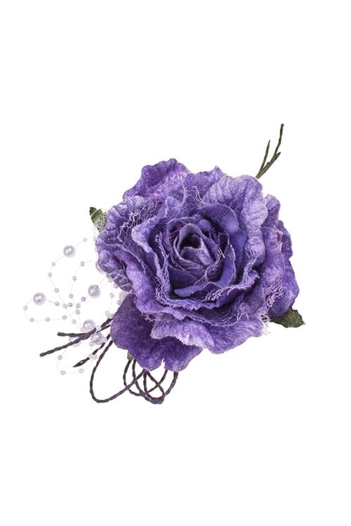 Цветок декоративный Нежная розаИнтерьер<br>Выс=22см, Д=12см, текстиль, сирен., с бусинами<br>