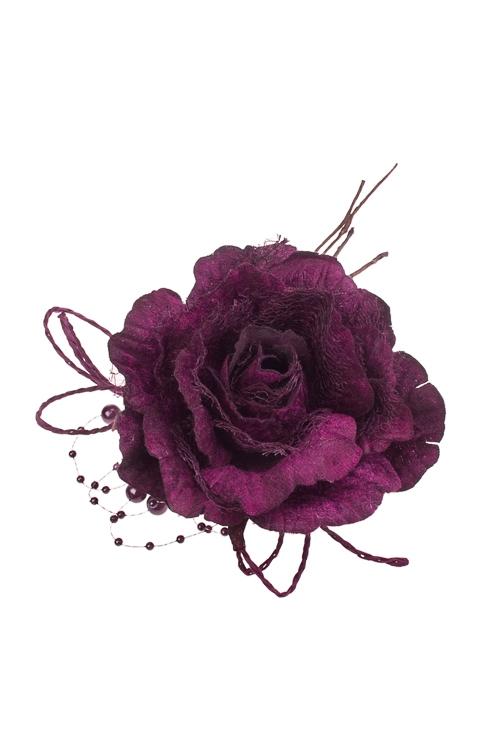 Цветок декоративный Нежная розаДекоративные цветы<br>Выс=22см, Д=12см, текстиль, вишневый, с бусинами<br>