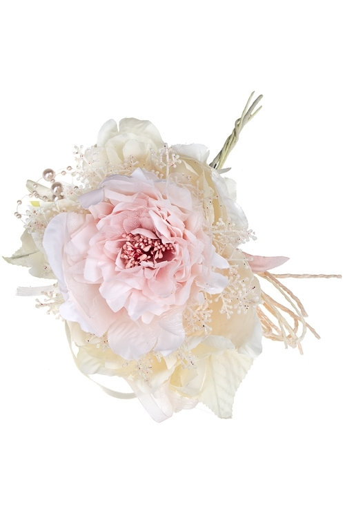 Цветок декоративный Пушистый пионДекоративные цветы<br>Выс=25см, Д=15см, текстиль, пластм., крем.-розовый<br>