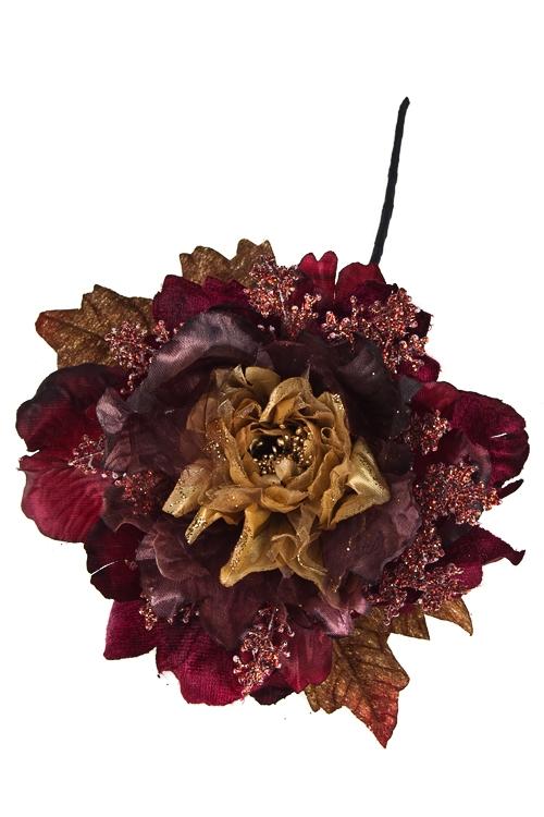 Цветок декоративный Пушистый пионДекоративные цветы<br>Выс=25см, Д=15см, текстиль, пластм., борд.-золот.<br>