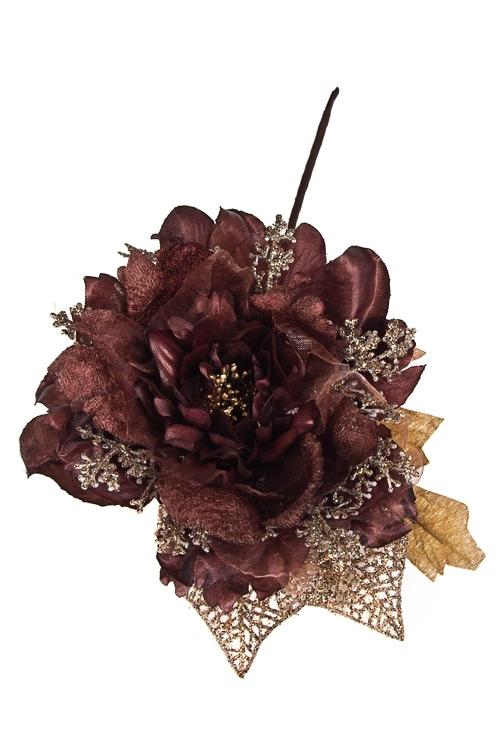 Цветок декоративный Пушистый пионДекоративные цветы<br>Выс=25см, Д=15см, текстиль, пластм., шоколадный<br>