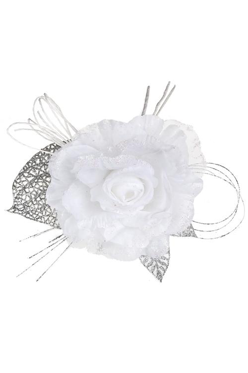 Цветок декоративный Волшебная розаДекоративные цветы<br>Выс=25см, Д=12см, текстиль, пластм., бело-серебр.<br>