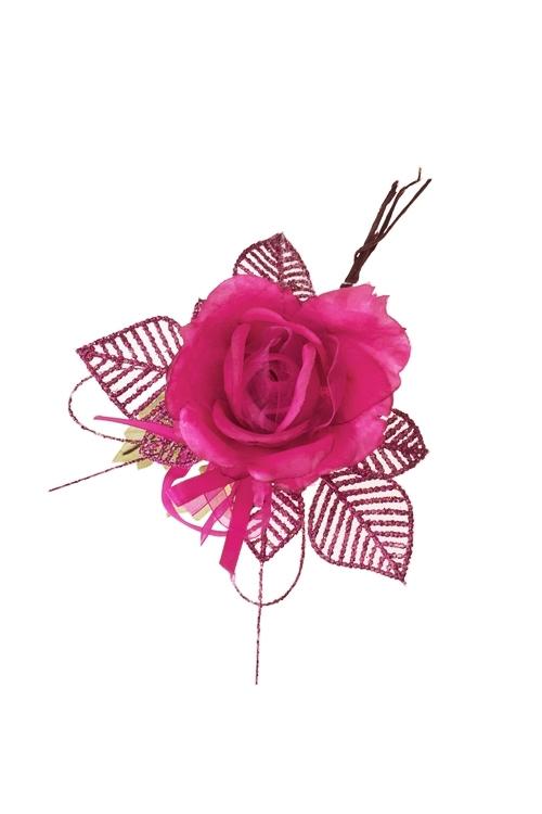 Цветок декоративный Очаровательная розочкаДекоративные цветы<br>Выс=17см, Д=10см, текстиль, пластм., малин.<br>