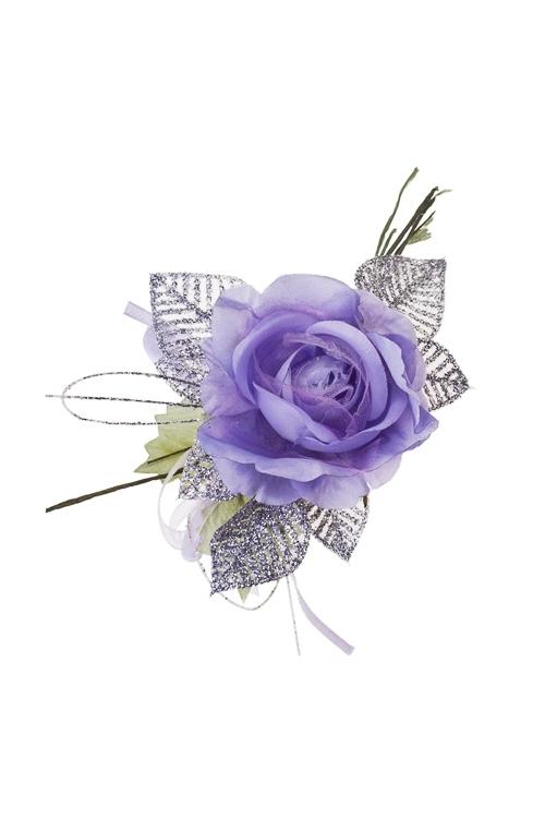 Цветок декоративный Очаровательная розочкаИнтерьер<br>Выс=17см, Д=10см, текстиль, пластм., сирен.<br>