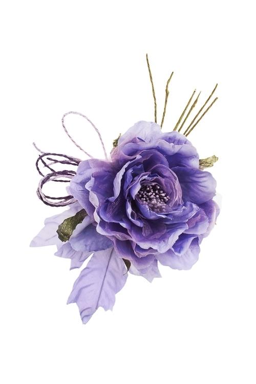 Цветок декоративный Заснеженная розаДекоративные цветы<br>Выс=20см, Д=12см, текстиль, сирен., со жгутиками<br>