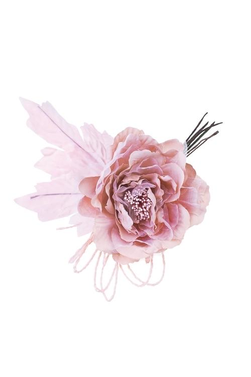 Цветок декоративный Заснеженная розаИнтерьер<br>Выс=20см, Д=12см, текстиль, пепельно-розовый, со жгутиками<br>