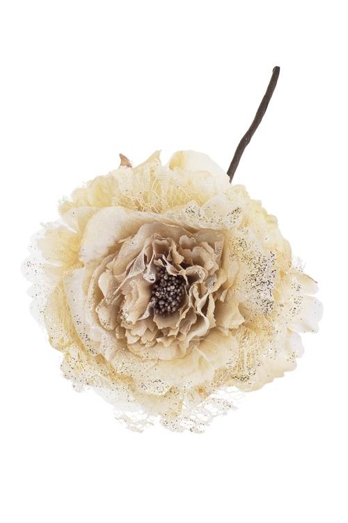 Цветок декоративный Кружевная розаДекоративные цветы<br>Выс=25см, Д=12см, текстиль, крем.-золот.<br>