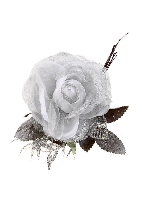 Цветок декоративный Зимний цветокПодарки на Новый год 2018<br>Выс=15см, Д=12см, текстиль, пластм., бело-серебр.<br>