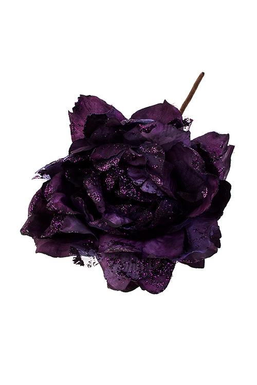 Цветок декоративный Изысканный пионЕлочные украшения<br>Выс=25см, Д=17см, текстиль, темно-фиолет.<br>