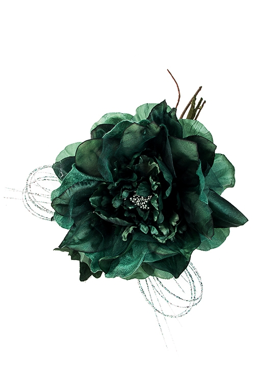 Цветок декоративный Роскошный пионЕлочные украшения<br>Выс=25см, Д=14см, текстиль, пластм., изумрудный<br>