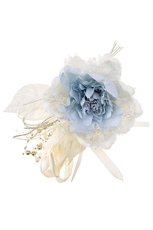 Цветок декоративный Пушистый пионЕлочные украшения<br>Выс=25см, Д=15см, текстиль, пластм., крем.-сине-голубой<br>
