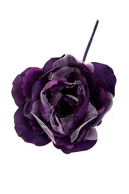 Цветок декоративный Королевский пионЕлочные украшения<br>Выс=25см, Д=14см, текстиль, темнофиолет.-серебр.<br>