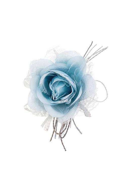 Цветок декоративный Кружевная розаЕлочные украшения<br>Выс=20см, Д=10см, текстиль, сине-голубой<br>