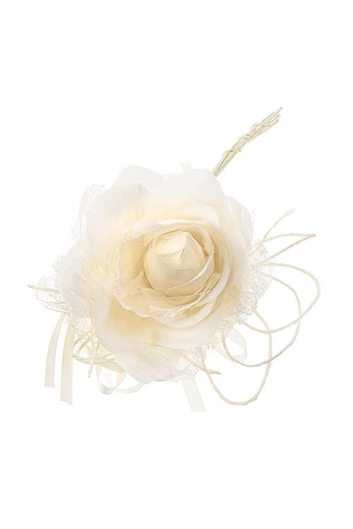 Цветок декоративный Кружевная розаПодарки на Новый год 2018<br>Выс=20см, Д=10см, текстиль, крем.<br>
