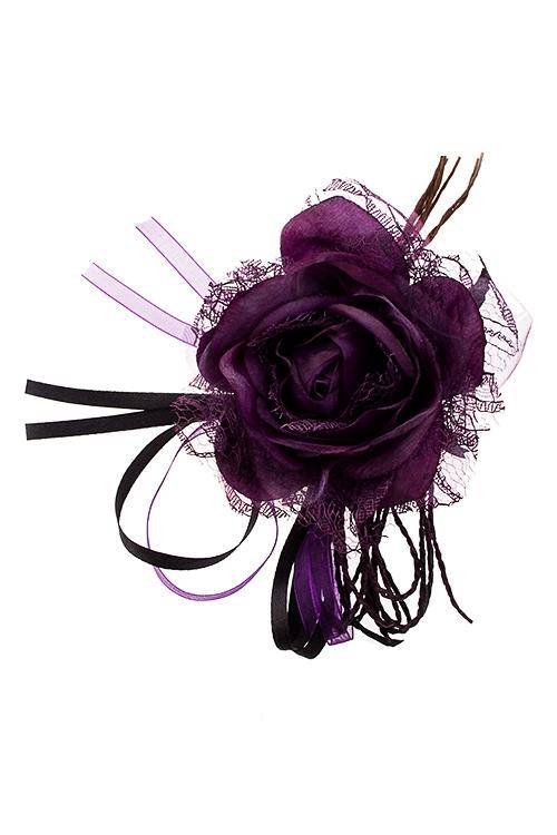 Цветок декоративный Кружевная розаПодарки на Новый год 2018<br>Выс=18см, Д=10см, текстиль, темно-фиолет.<br>