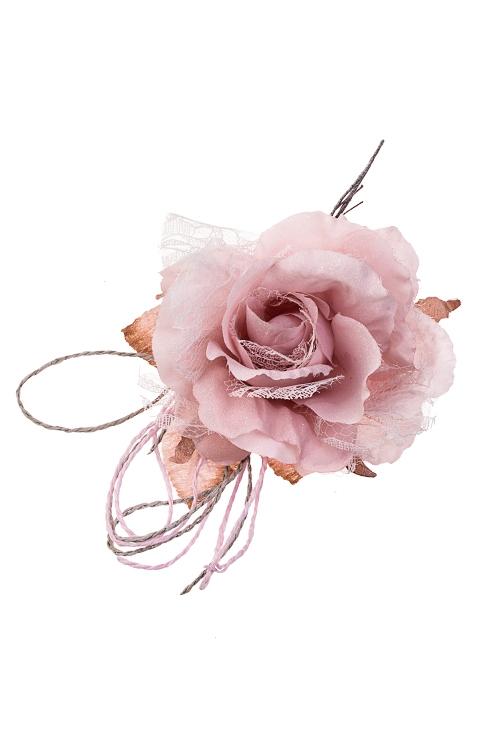 Цветок декоративный Роза с кружевомЕлочные украшения<br>Выс=18см, Д=11см, текстиль, нежно-розовый<br>