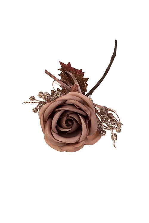 Цветок декоративный Английская розочкаЕлочные украшения<br>Выс=15см, Д=8см, текстиль, пластм., шоколадный<br>