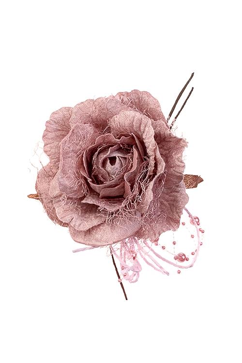 Цветок декоративный Нежная розаПодарки на Новый год 2018<br>Выс=18см, Д=12см, текстиль, пепельно-розовый, с бусинами<br>