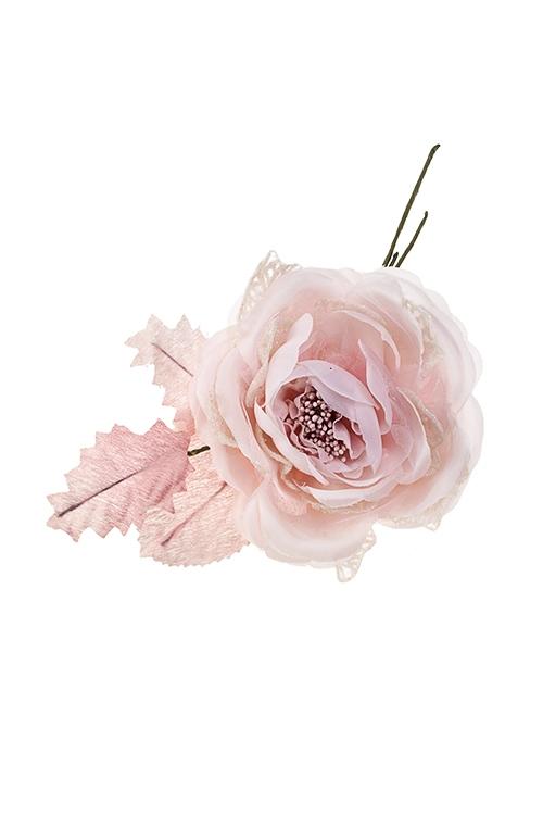 Цветок декоративный Душистая розаЕлочные украшения<br>Выс=18см, Д=10см, текстиль, пластм., св.-розовый-крем.<br>
