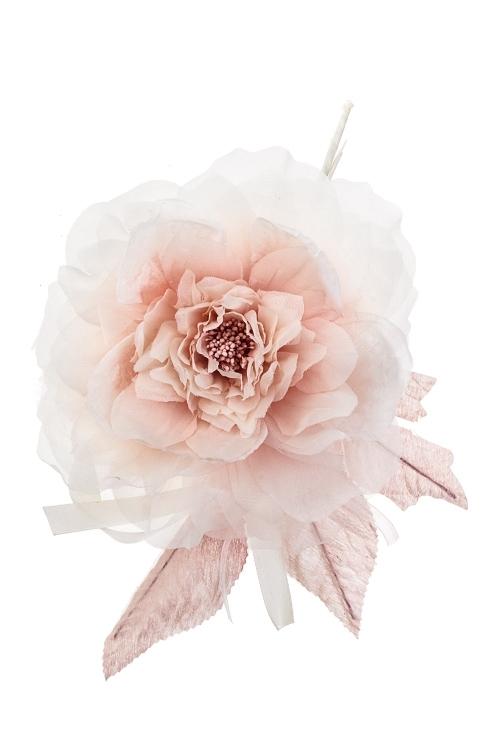 Цветок декоративный Роскошная розаЕлочные украшения<br>Выс=25см, Д=17см, текстиль, крем.-розовый<br>