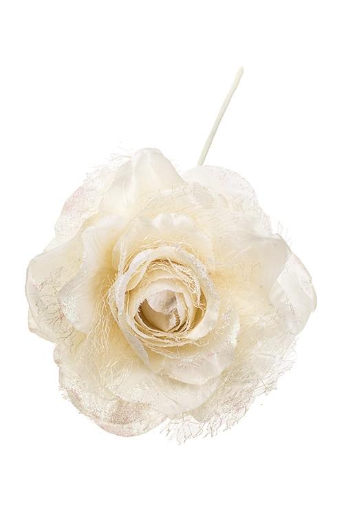 Цветок декоративный Ванильная розаПодарки на Новый год 2018<br>Выс=25см, Д=16см, текстиль, крем.<br>
