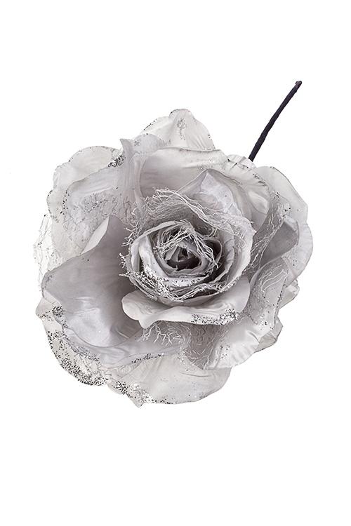 Цветок декоративный Серебряная розаЕлочные украшения<br>Выс=25см, Д=15см, текстиль, серебр.<br>