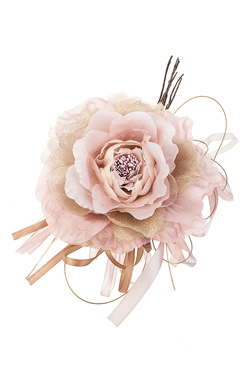 Цветок декоративный Королевская розаПодарки на Новый год 2018<br>Выс=24см, Д=15см, текстиль, розово-золот.<br>