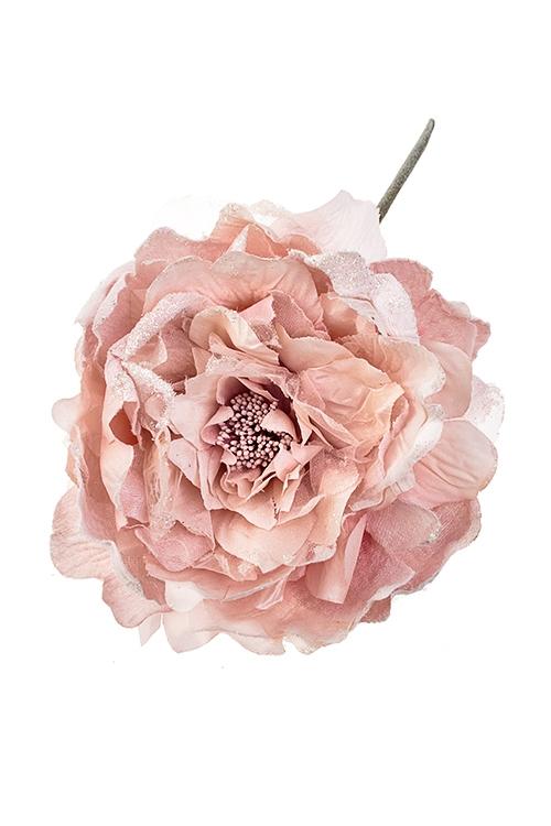 Цветок декоративный Пышная розаПодарки на Новый год 2018<br>Выс=25см, Д=18см, текстиль, светло-розовый<br>