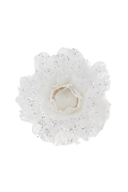 Украшение для интерьера Пышный цветокЗимнее сияние<br>Д=12см, перо, пенопласт, белое, на прищепке (2 вида)<br>